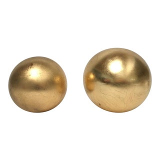 1980s Contemporary Jaru Gold Finish Ceramic Sphere Sculptures - a Pair For Sale