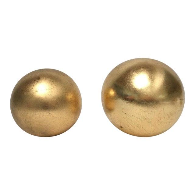 Jaru Gold Leaf Ceramic Orb Sphere Sculptures - a Pair For Sale