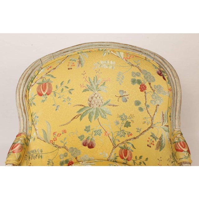 Antique Louis XVI Style Painted Bergere - Image 8 of 11
