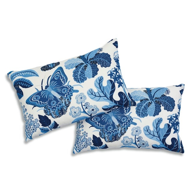 Contemporary Schumacher X Josef Frank Exotic Butterfly Pillow in Marine For Sale - Image 3 of 9