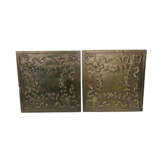 Floral Ribbon Bronze Tin Panels For Sale - Image 4 of 4