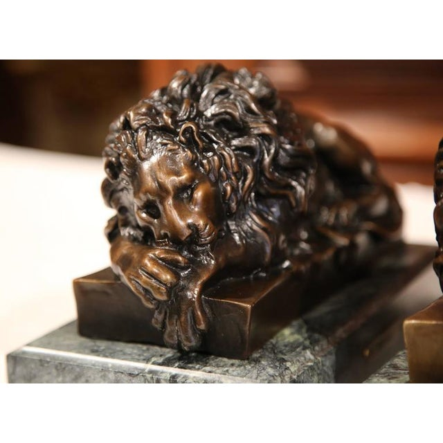 19th Century French Bronze Lions on Marble Bases Signed J. Moigniez - a Pair - Image 9 of 10