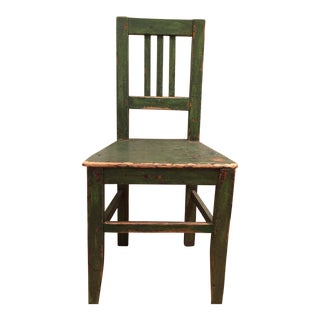 1900s Antique European Green Wooden Side Chair For Sale