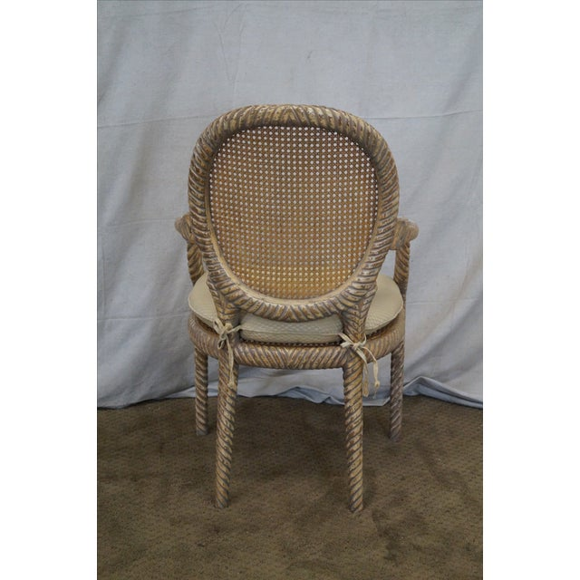 Hollywood Regency Gilt Painted Rope Turned Chair - Image 4 of 10