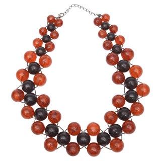 Two Colored Resin Ball Necklace on Wire For Sale