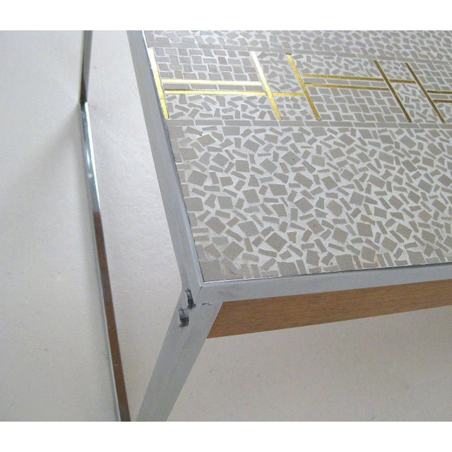 1960s Mid-Century Modern Chrome and Mosaic Coffee Table For Sale In Boston - Image 6 of 10