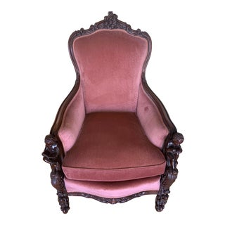 Vintage. Rose Velvet Hand-Carved Scholars Mahogany Side Chair For Sale