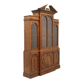 Maitland Smith Aged Mahogany Chippendale Breakfront China Cabinet For Sale