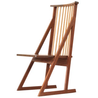 Tadao Arimoto Walnut Spindle Back Chair, 1980s For Sale