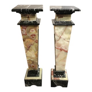 Traditional Two Toned Black Marble Pedestals - a Pair