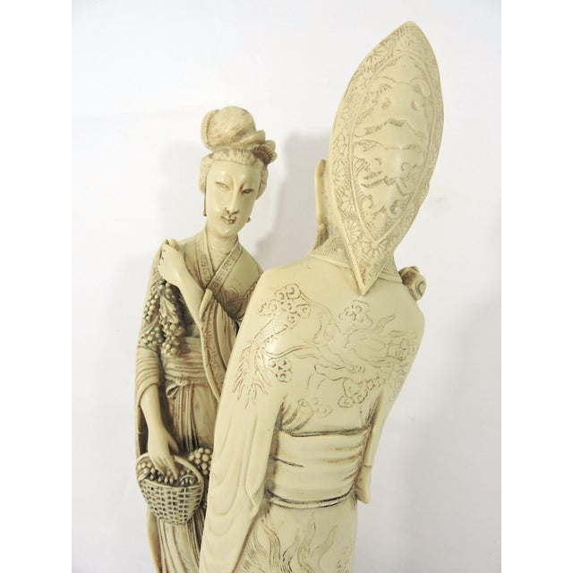 Resin Vintage Ivory Coloured Chinese Nobles, Statues or Figures on Stands - a Pair For Sale - Image 7 of 10