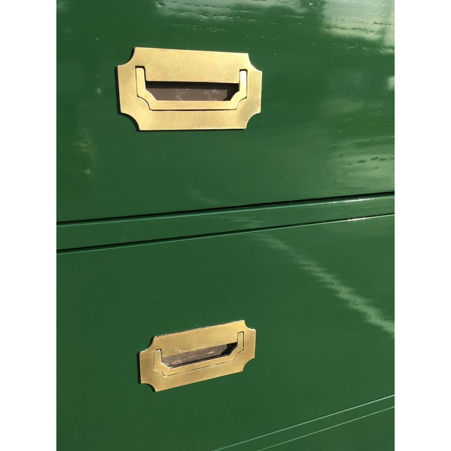 Green 1970's Campaign Chest of Drawers For Sale - Image 8 of 10