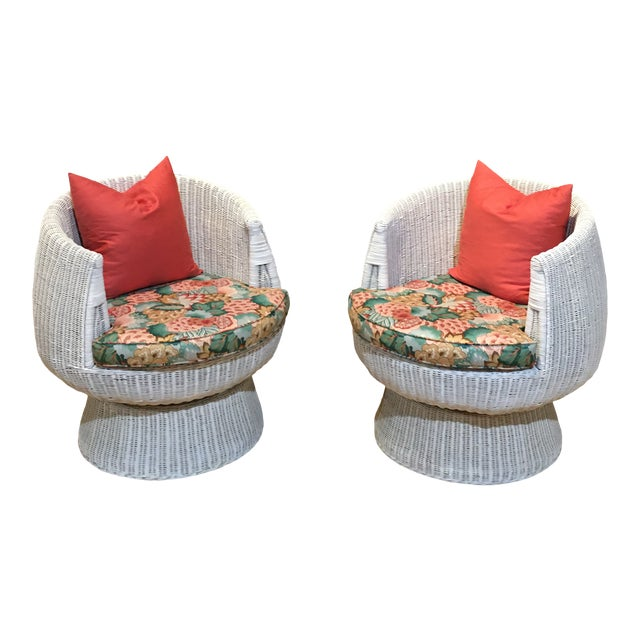 1960s Rattan Swivel Tulip Chairs - A Pair For Sale