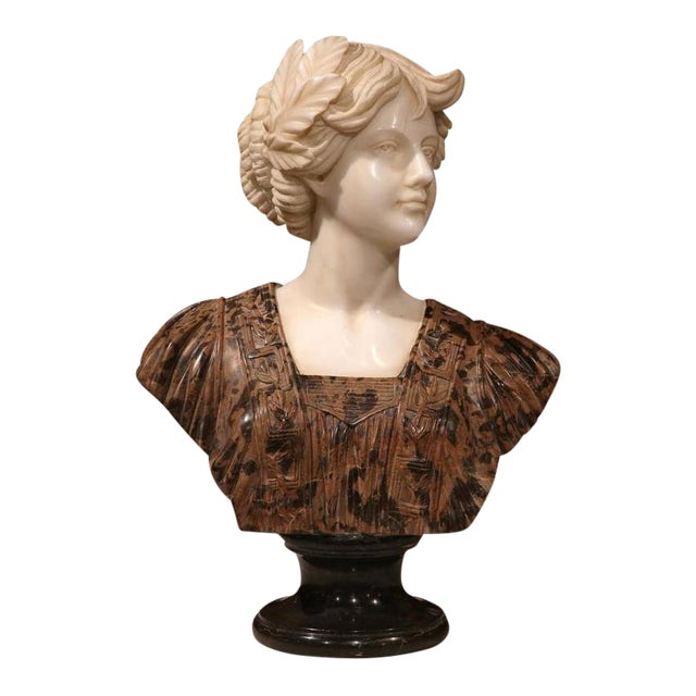 Large 19th Century Italian Carved Marble Bust of Young Lady by Goose For Sale