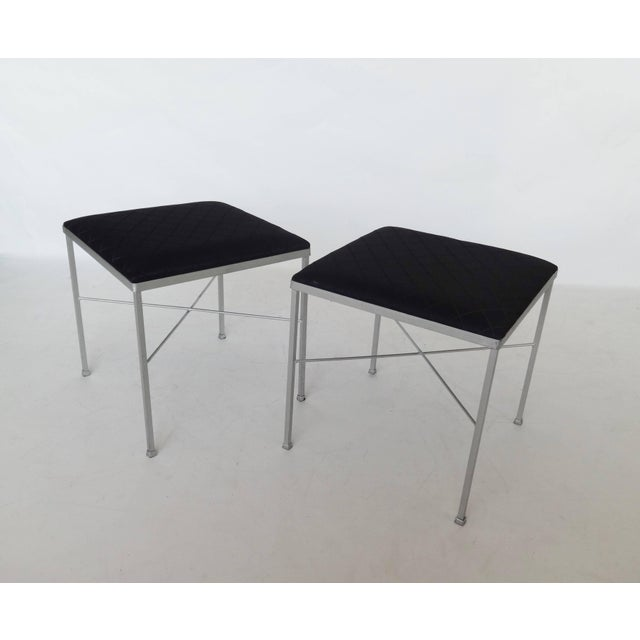 Mid-Century Modern Eight X-Base Brass Stools by Thonet For Sale - Image 3 of 9
