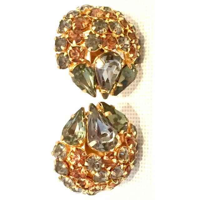 Metal 1950's Vintage Joseph Warner Gold & Swarovski Crystal Necklace and Earrings - Set of 3 For Sale - Image 7 of 12