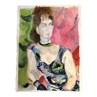 Original Vintage Female Portrait Watercolor Painting For Sale