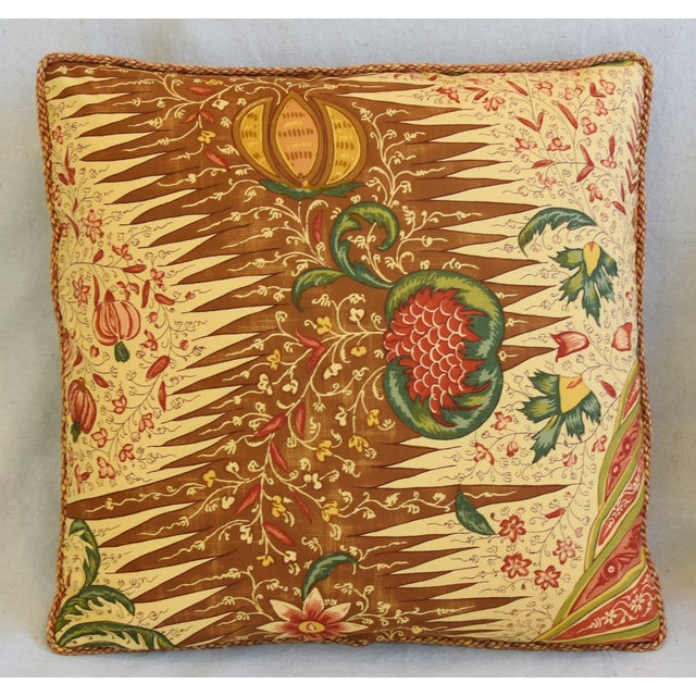 """Traditional French Pierre Frey La Riviere Feather/Down Pillows 21"""" Square - Pair For Sale - Image 3 of 12"""
