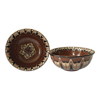 Vintage Painted Bowls- a Pair For Sale