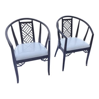 1980s Chinoiserie Curved Barrel Back Armchairs - a Pair For Sale