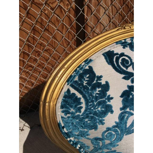 Victorian Gold Leaf & Velvet Chair - Image 7 of 7
