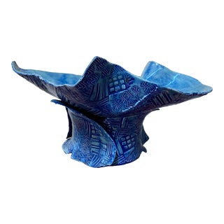 2000s Modern Handmade Ceramic Fruit Centerpiece Bowl For Sale