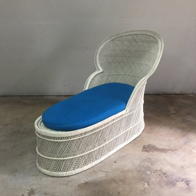 Rattan Vintage Bohemian Wicker Rattan Lounge Chair For Sale - Image 7 of 7