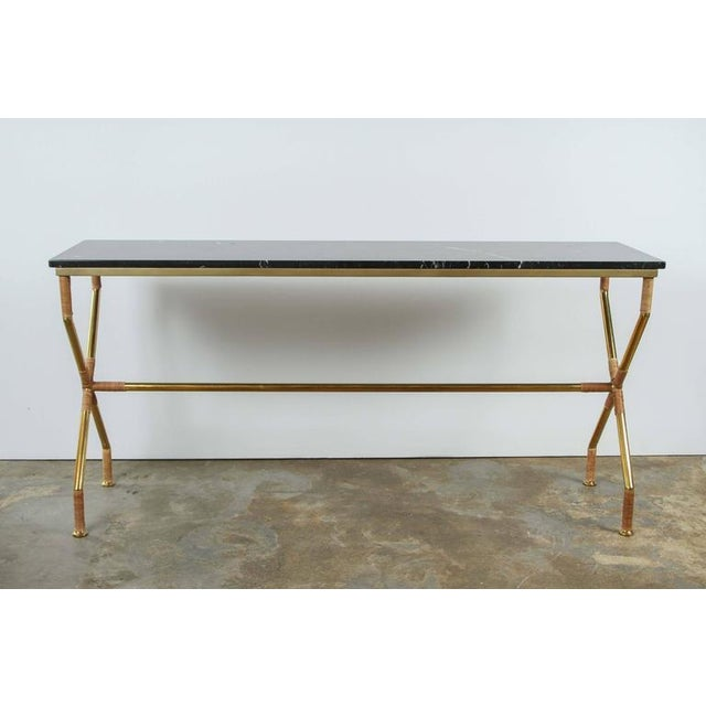 Customizable Paul Marra Brass and Raffia Console with Marble Top - Image 5 of 8