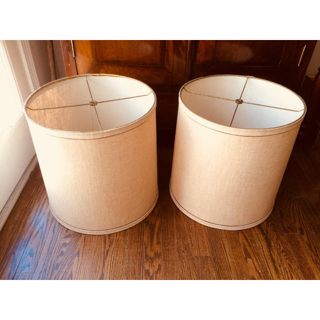 Large Mid-Century Frederick Cooper Drum Lamp Shades - a Pair For Sale - Image 9 of 9