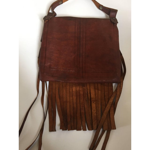African Moroccan Crossbody Leather Handcrafted African Tuareg Bag With Fringes For Sale - Image 3 of 8