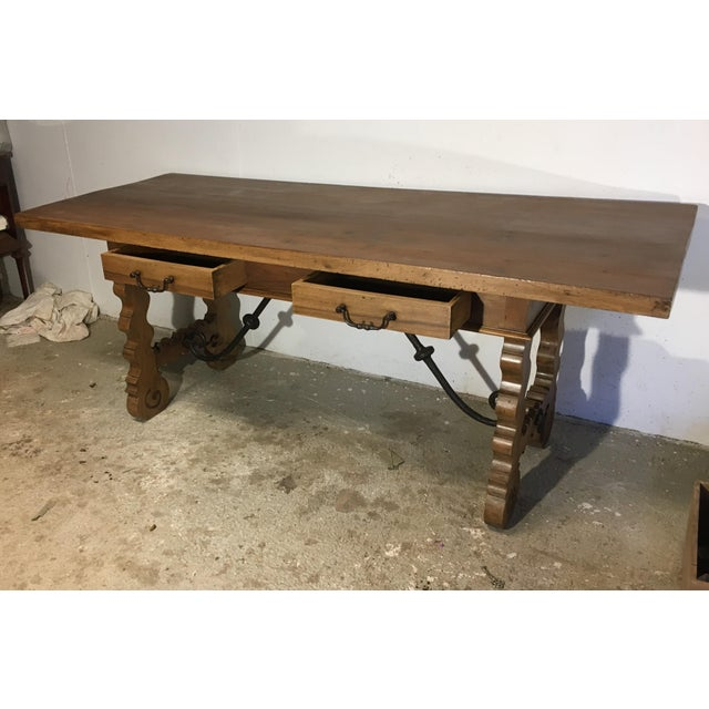 Late 18th Century 18th Century Baroque Original Farm Refectory Desk Table With Two Drawers For Sale - Image 5 of 11