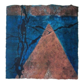 "Niederhausen Monoprint on Paper ""Vestigal Remains 6"", Contemporary Pink and Blue Abstract"