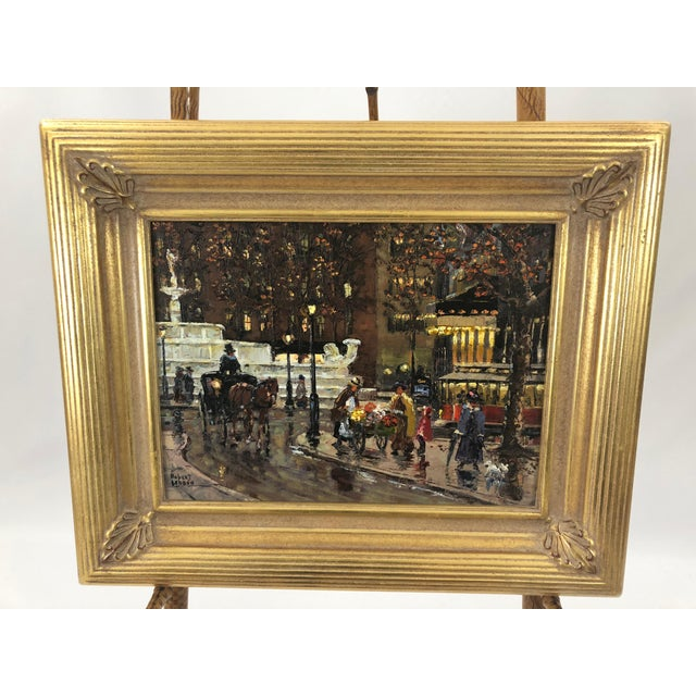 Original Oil Painting of New York City Pulitzer Fountain at the Plaza For Sale - Image 9 of 9