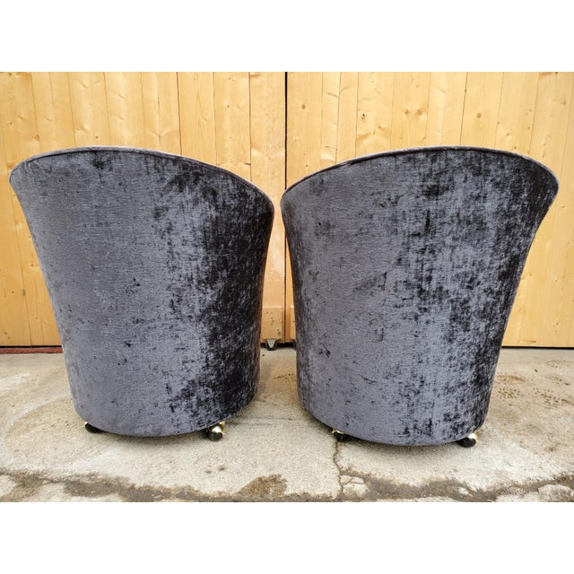 Mid Century Modern Sculptural Directional Barrel Chairs on Casters Newly Uphostered - Pair For Sale - Image 4 of 12