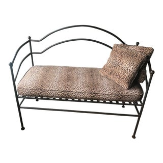 Leopard Print Cushioned Iron Bench For Sale