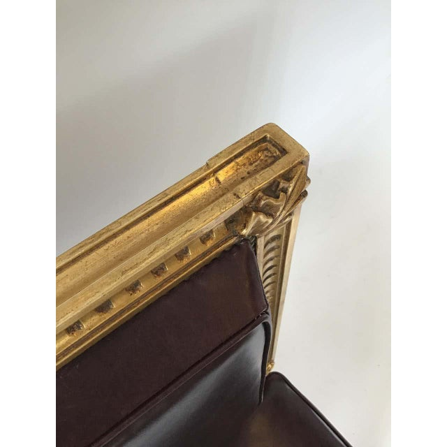 4 French style Louis XVI giltwood and squared leather dining chairs. Nice quality. From an East Hampton, NY estate.