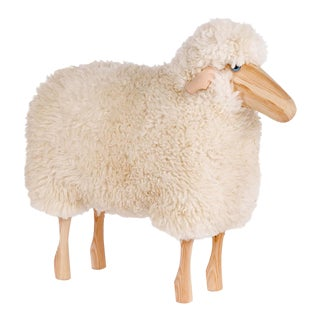 White Curly Wool & Pinewood Small Sheep Stool For Sale