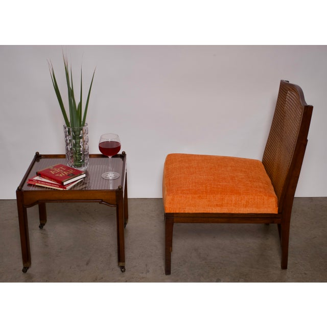 """1940s Antique """"American of Chicago"""" Mid-Century Modern Walnut & Cane Accent Chair With Side Table For Sale - Image 11 of 13"""