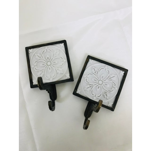 White 1990s Decorative Tile & Brass Wall Mounted Hooks - A Pair For Sale - Image 8 of 8
