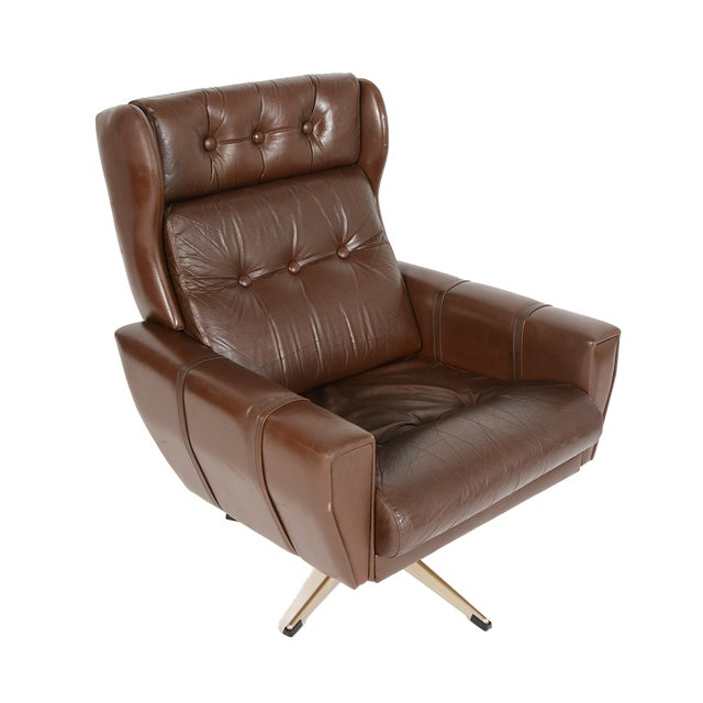 High Back Brown Leather Swivel Lounge Chair - Image 1 of 10
