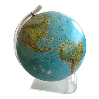 Vintage Globe With Thick Lucite Base For Sale