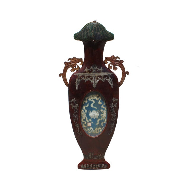 Chinese Vintage Vase Shape Lacquer Frame Porcelain Wood Wall Panels Art For Sale - Image 9 of 9