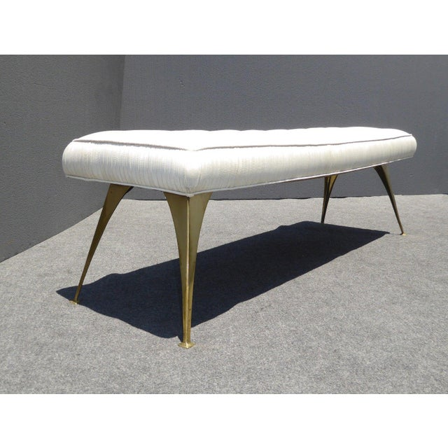 Jonathan Adler Style Mid-Century Modern Bench With Brass Legs - Image 4 of 11