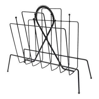 Vintage Mid Century Modern Atomic Wire Metal Black Magazine Rack Holder Hairpin