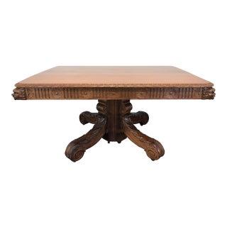 Antique Spanish Carved Walnut Pedestal Dining Table For Sale