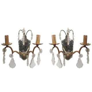 Italian Sconces W/Mirrors & Crystals - a Pair For Sale