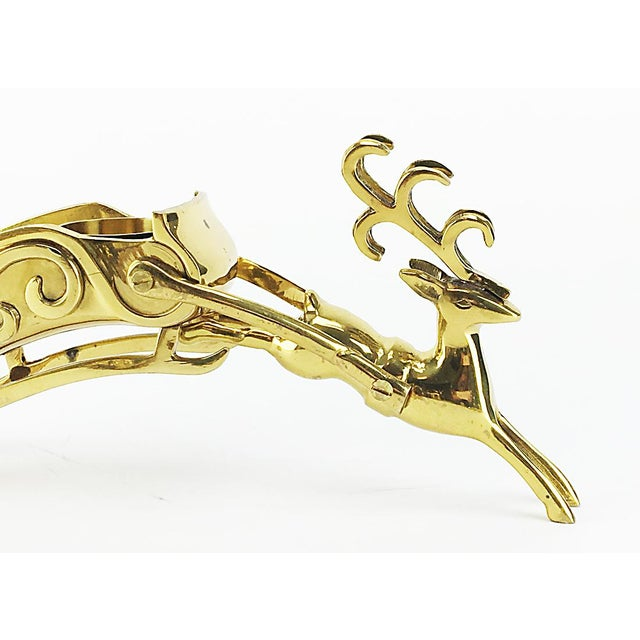 Vintage Brass Reindeer & Sleigh Candle Holder - Image 4 of 4