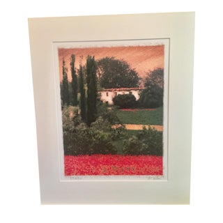 Tuscan Poppy Field and Cypress Trees Print Signed by Barbara Carter For Sale
