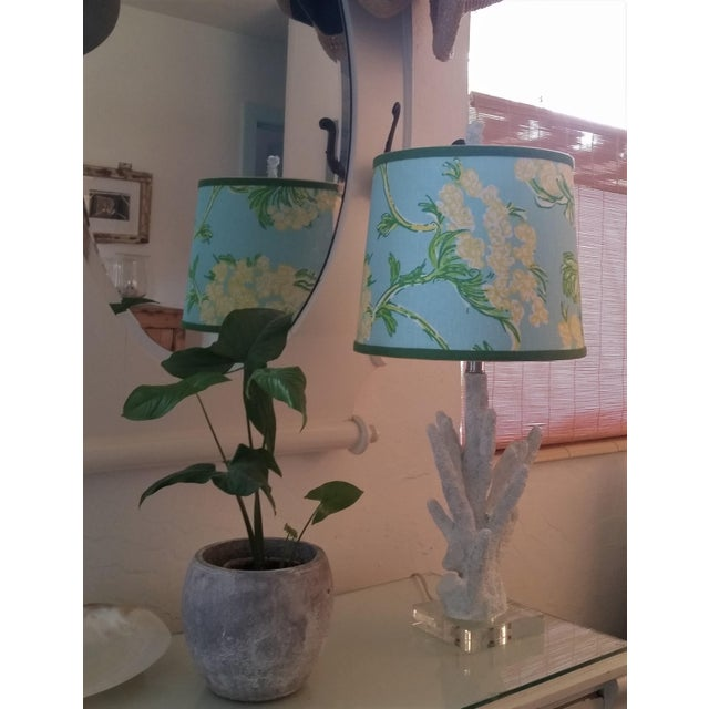 Lilly Pulitzer Fabric Blue Floral Blue Green Yellow Tropical Lampshade For Sale - Image 9 of 12
