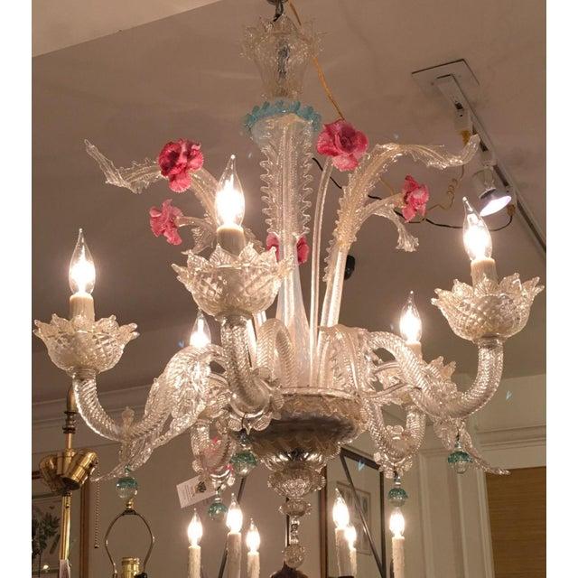 Superb Antique Venetian Glass 5 Lite Chandelier - Image 4 of 4